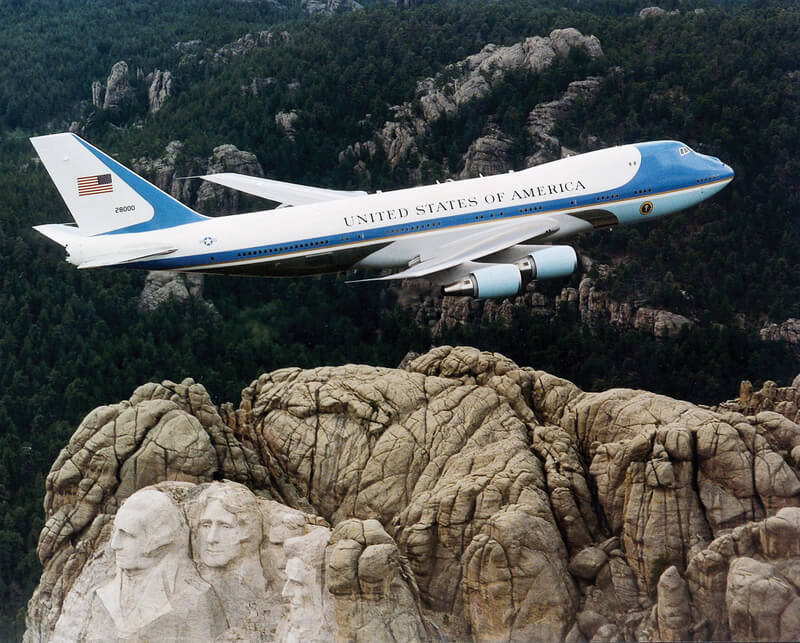 Air Force One flying over Mount Rushmore South Dakota.