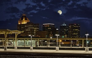 Greensboro Night Skyline with Moon