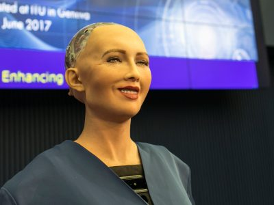 Sophia the almost human robot. She could be answering questions on flights in the future. Aviation Triad, North Carolina.