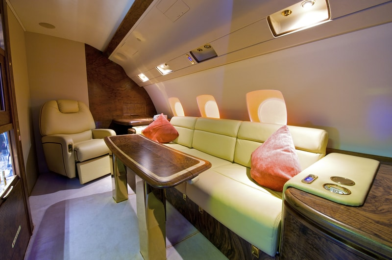 Private luxury jet interior. Aviation Triad. Aircraft maintenance and careers.